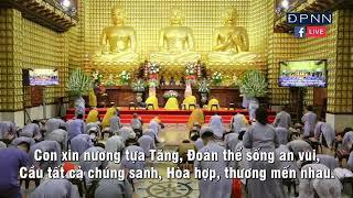"""Tụng """"Kinh Nương Tựa Ai Khi Phật Qua Đời"""" trích trong """"Kinh Phật Cho Người Tại Gia""""."""