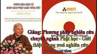 Phương pháp nghiên cứu chuyên ngành Phật học - Giới thiệu trang wed nghiên cứu