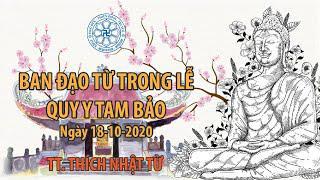 Thầy Nhật Từ ban đạo từ trong lễ quy y tam bảo tại chùa Giác Ngộ 18-10-2020